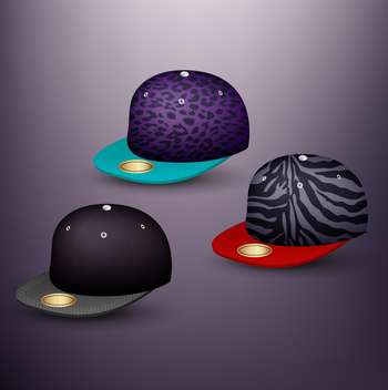 set of baseball caps on grey background - бесплатный vector #130973