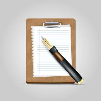 Vector notepad paper with pen on grey background - vector gratuit(e) #131103