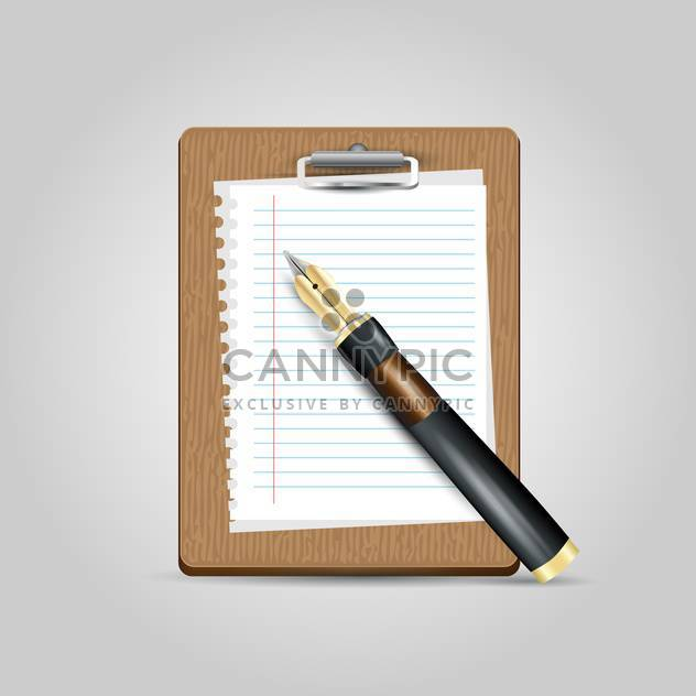 Vector notepad paper with pen on grey background - Free vector #131103