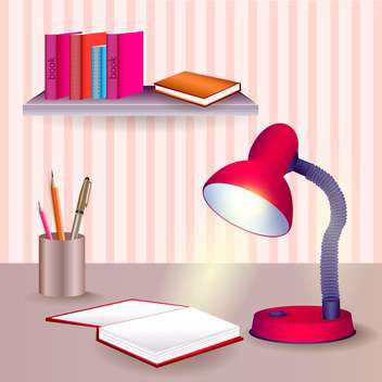 Vector table with educational objects - Free vector #131133