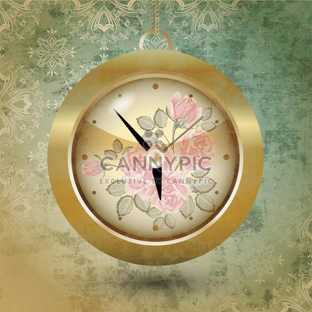 Floral design of clock vector illustration - Free vector #131183
