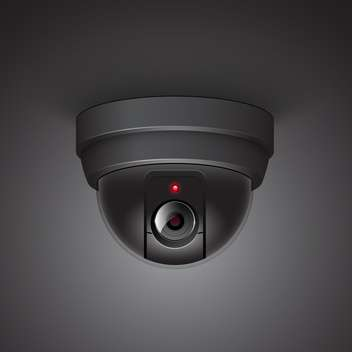 Video surveillance camera vector illustration on black background - Kostenloses vector #131213
