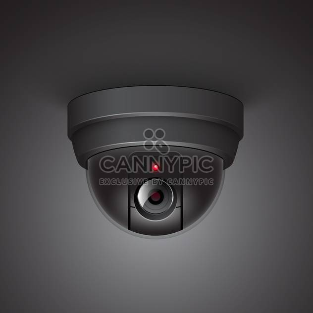 Video surveillance camera vector illustration on black background - Free vector #131213