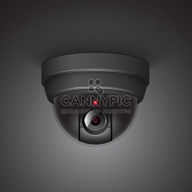Videoüberwachung Kamera-Vektor-Illustration auf schwarzem Hintergrund - Kostenloses vector #131213