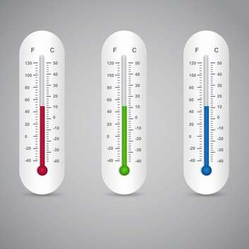 Three thermometers vector set on grey background - бесплатный vector #131383