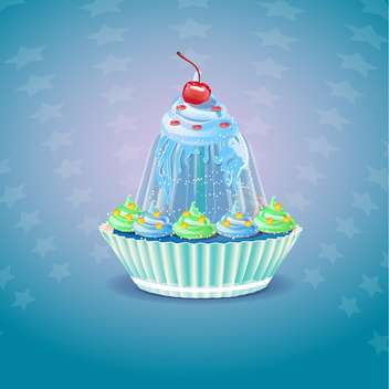 Cupcake with cherry on blue background - vector gratuit #131593