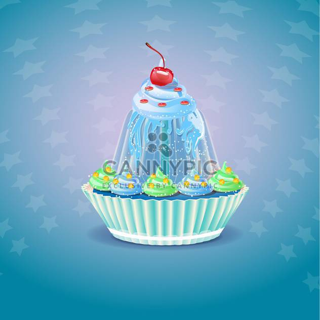 Cupcake with cherry on blue background - Free vector #131593
