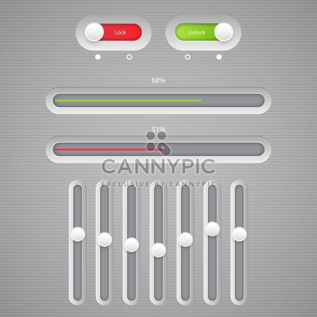 Multimedia buttons grey interface - Free vector #131623