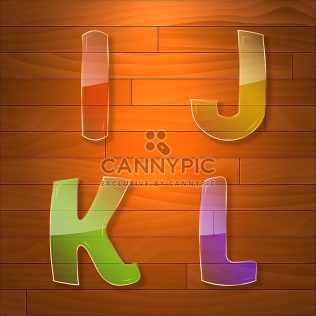 Colorful glass vector font on wooden background - Free vector #131693