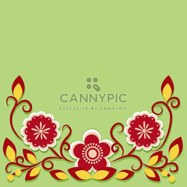 Greeting card with flowers vector illustration - Free vector #131743