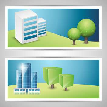 Banners on city theme vector illustration - vector gratuit #131753