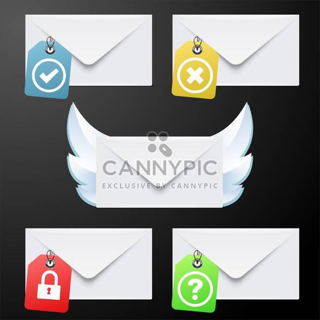 White envelopes set vector illustration on black background - Free vector #132043