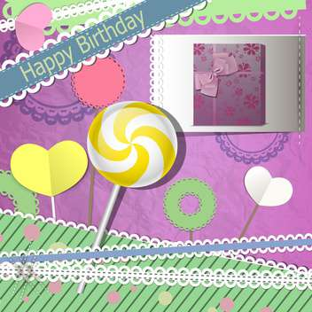 Vector set of vintage frames with lollipop for birthday card - vector gratuit #132113