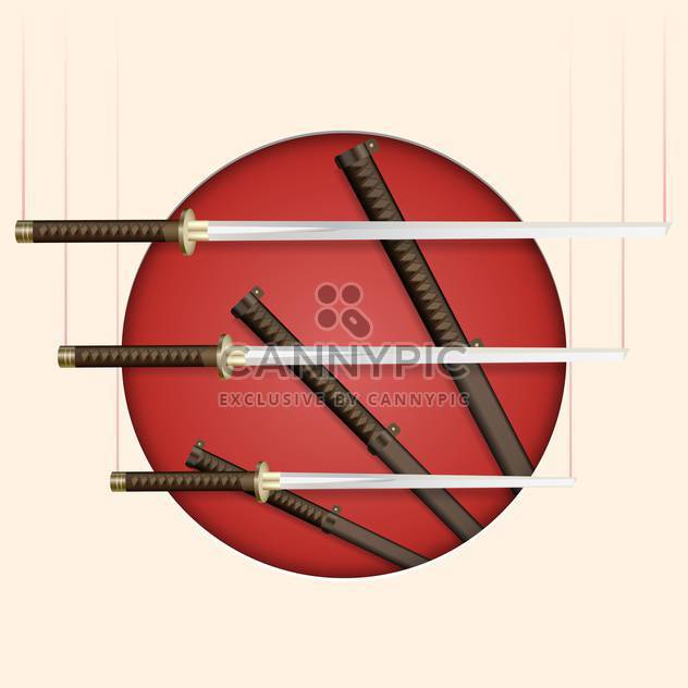 Vector background with samurai swords - Free vector #132213