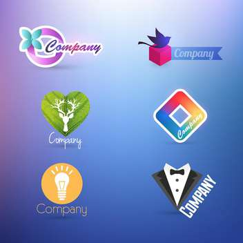 set of company logos for design on purple background - Free vector #132263