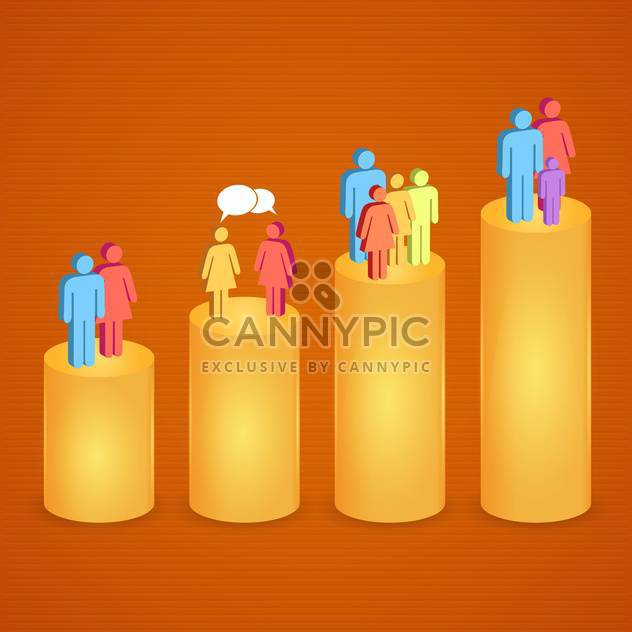 Group of colorful people on the different graphic levels - Free vector #132343