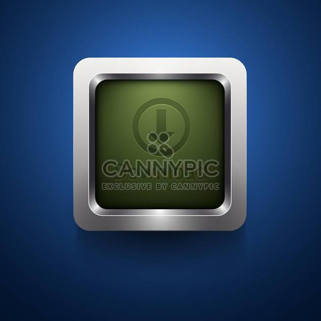 Download green button in metal frame on blue background - Free vector #132393