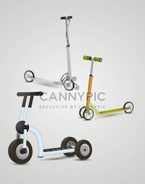 kick scooters on gray background - Free vector #132413