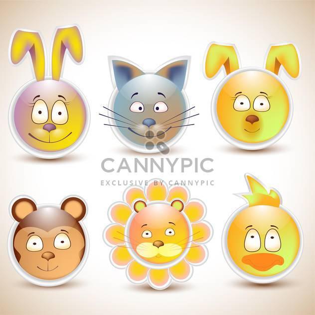 Sammlung von lustigen Tieren lächelt - Free vector #132673