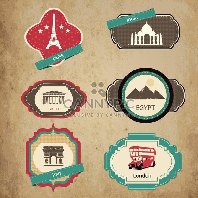 Jahrgang Reise-Ikonen und Sticker-set - Free vector #132763