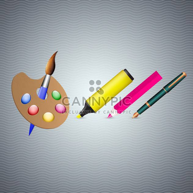 fountain pen, marker, pencil and brush - Free vector #133003