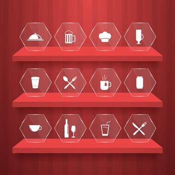 food icons set background - vector gratuit #133373