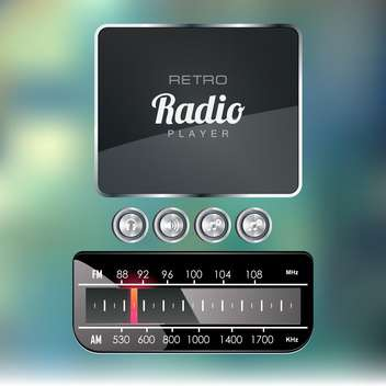 retro radio media player - vector gratuit #133393