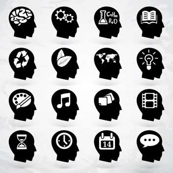 head with business brain labels set - vector gratuit #133653