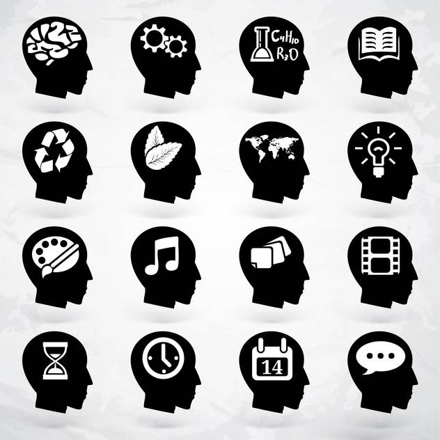 head with business brain labels set - vector #133653 gratis