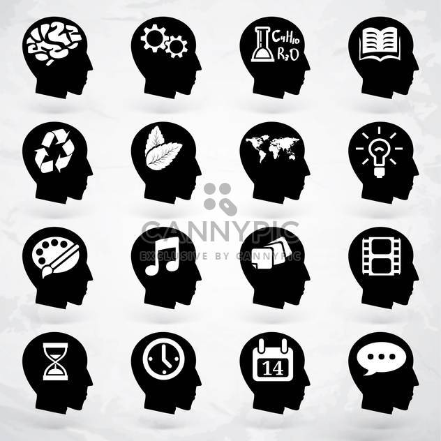 head with business brain labels set - Free vector #133653
