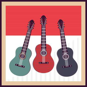 vector background with acoustic guitars - vector gratuit #133763