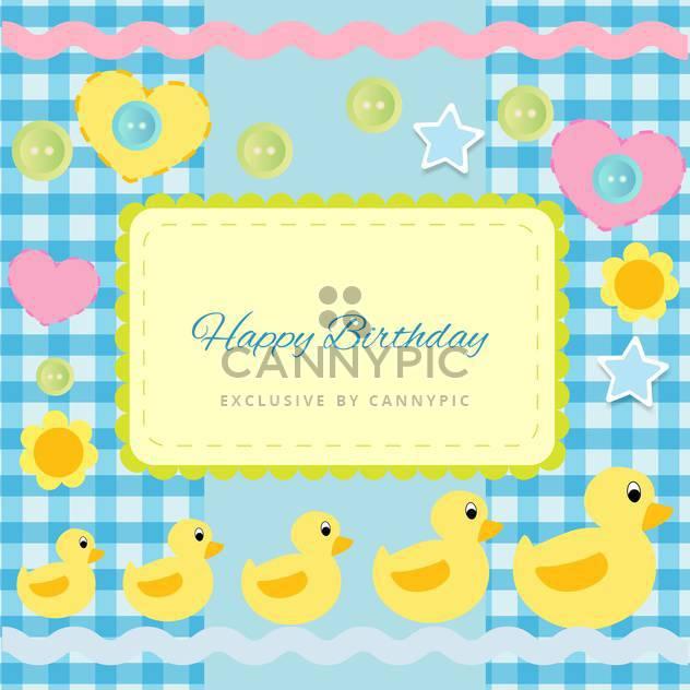alles Gute zum Geburtstag-Einladung mit Entenküken - Kostenloses vector #133793