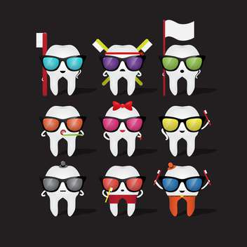 cartoon tooth character in glasses - vector gratuit #133843