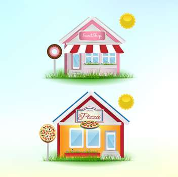 set of cartoon shops background - Kostenloses vector #133913