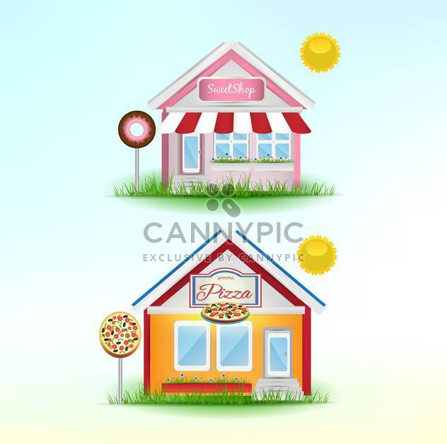 set of cartoon shops background - Free vector #133913