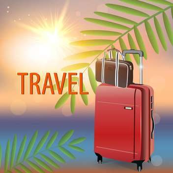 travel suitcase on tropical beach - vector gratuit #133943