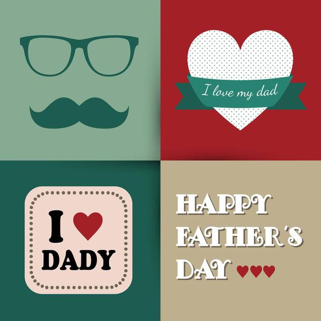 happy father's day vintage card - vector #133983 gratis