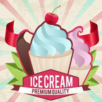 vintage ice cream card - vector gratuit(e) #134193