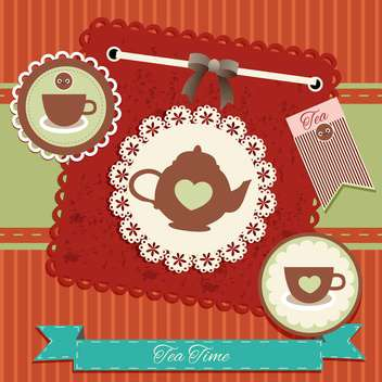 vintage tea party invitation card - vector gratuit #134243