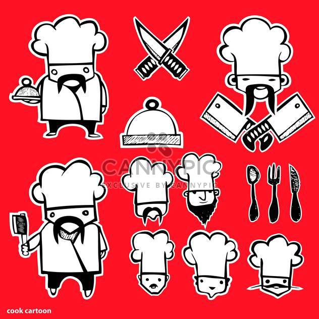 cook cartoon icons set - Free vector #134343