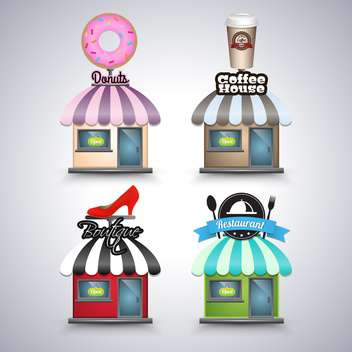 mini shop icons illustration - vector gratuit #134393
