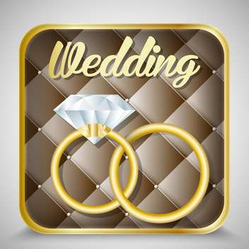 wedding holiday postcard with rings - vector gratuit(e) #134593