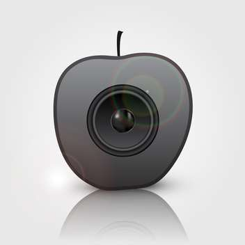 black speaker in apple vector illustration - vector gratuit #134833