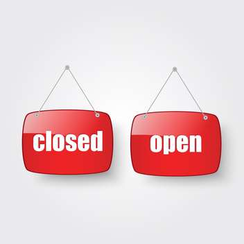 open and closed shop door sign - бесплатный vector #134863