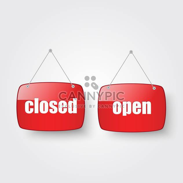 open and closed shop door sign - Free vector #134863
