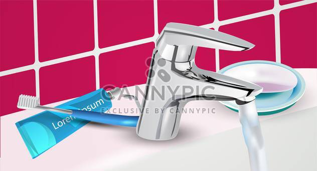 toothbrush and toothpaste on sink background - Free vector #134953
