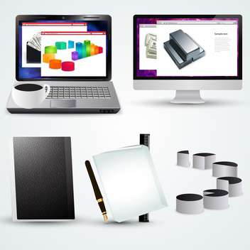 business office accessories with laptop and diagram - Free vector #134963
