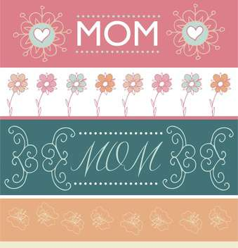 mother's day greeting banners with spring flowers - vector gratuit #135053