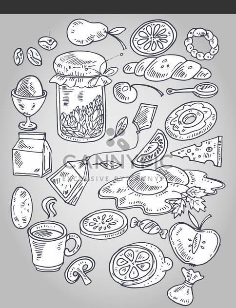 verschiedene Lebensmittel in künstlerischen Vintage-Stil - Free vector #135163