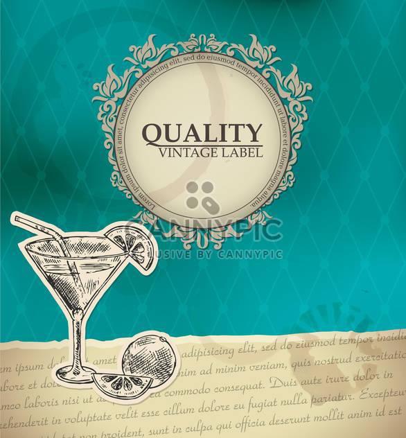 Vintage-Stil-Etikett mit cocktail - Free vector #135173